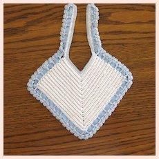 SALE! Vintage Blue & White Crochet Baby or Doll Bib