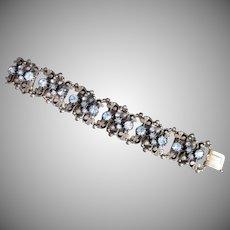 Vintage Silvertone Shamrock Blue Rhinestone Book Chain Bracelet