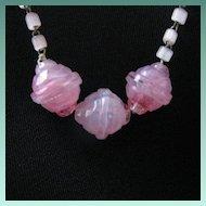 Vintage Pink Swirl Glass Bead Czech Necklace