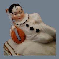 SALE! Vintage Porcelain Harlequin Figural Covered Box