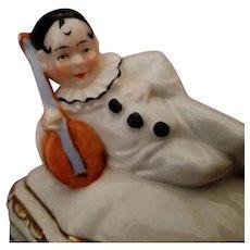 Vintage Porcelain Harlequin Figural Covered Box