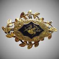 Vintage Rolled Gold or Gold Plate & Enamel Brooch