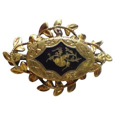 Vintage Rolled Gold or Gold Plate and Enamel Brooch