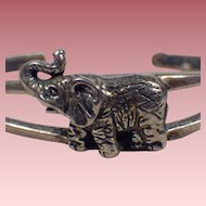 Vintage Signed Sterling Silver Elephant Cuff Bracelet