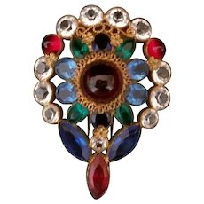 Vintage Glass Cabochon, Rhinestone and Crystal Gold Plate Fur Clip