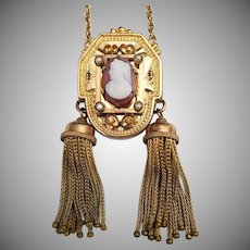 Antique Gold Fill Tassel Sardonyx Cameo Pendant