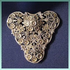 Vintage Silver and Marcasite Dress or Fur Clip