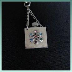 Vintage Silver Tone Perfume Vial Charm Bracelet