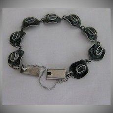Vintage Sterling Silver Cowboy Hat Link Bracelet