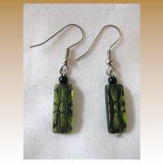 Vintage Green Glass Pierced Earrings