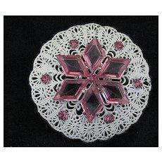 Vintage Pink & White Snowflake or Flower Filigree Brooch