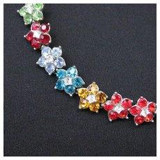 Vintage Rhodium Plate & Rhinestone Flower Necklace