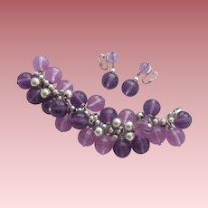 Vintage Signed Napier Silvertone and Purple Lucite Demi Parure