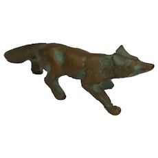Vintage Bronze Miniature Fox Figurine