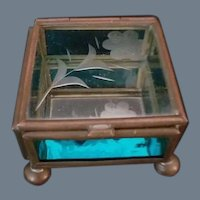 Vintage Miniature Etched Glass Box with Mirrored Bottom