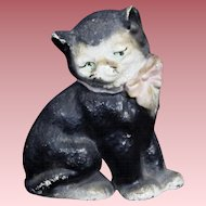 Vintage Hubley Cast Iron Black Cat Original Paint Paperweight