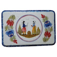 Vintage Quimper Design Decorative Tin