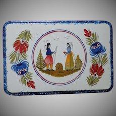 Vintage Quimper Design Decorative Tin