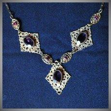 Vintage Brass Filigree & Amethyst Glass and Rhinestone Necklace