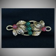 Antique Victorian Rolled Gold, Jade & Carnelian Leaf Brooch