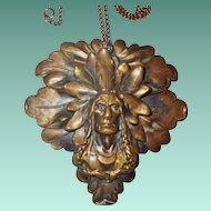 Vintage Brass Native American Pendant Necklace