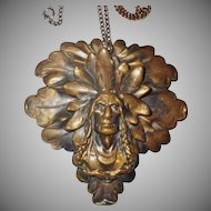 Vintage Brass Native American Pendant Necklace