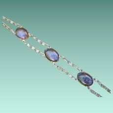 Antique Genuine Dragon's Breath Glass Cabochon Bracelet