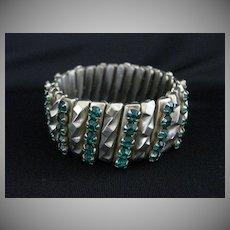 Vintage Art Deco Machine Age Goldtone & Rhinestone Expansion Bracelet