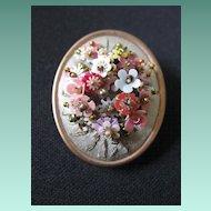 Antique Hand Wired Flower & Bead Brooch on Silk
