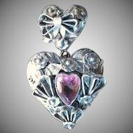 Vintage Rare Signed HOBE Sterling Silver & Amethyst Heart Pendant Brooch