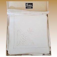 Vintage Set of Twelve Unused Linen Napkins in Box