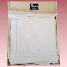 Vintage Set of Twelve Unused Linen Napkins in Box