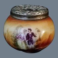 Antique Miniature Hand-Painted Porcelain Pot