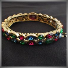 Vintage Czech Bangle Bracelet with Rhinestones