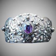 Antique Peruzzi  800 Silver & Amethyst Cuff Bracelet
