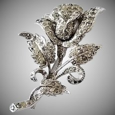 Exquisite Vintage Rhinestone Rose Brooch