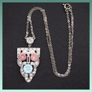Vintage Art Deco Era Rhinestone & Shoe Button Glass Pendant Necklace