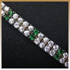 Vintage Art Deco Era Sterling Silver & Rhinestone  Bracelet