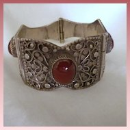 Vintage Sterling Silver & Carnelian Bracelet