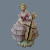 Vintage Signed ORLIK Bisque Porcelain Lady with Cello Figurine