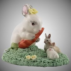 Vintage Signed Irish Dresden Rabbit Family Figurine