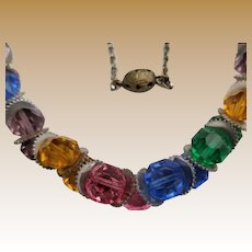 Unusual Vintage Czech Multi-color Glass Necklace