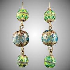 Vintage Cloisonne Dangle Drop Earrings