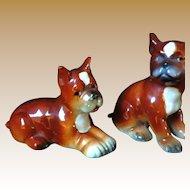 Vintage Pair of Early Goebel Boxer Dog Figurines