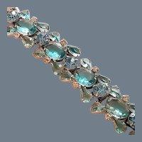 Vintage Aqua Blue Rhinestone Juliana Link Bracelet