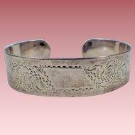 Vintage Signed Sterling Silver Cuff Bracelet