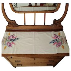 Vintage Hand Sewn and Embroidered Floral Table Runner