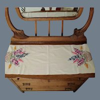 SPRING SALE Vintage Hand Sewn and Embroidered Floral Table Runner