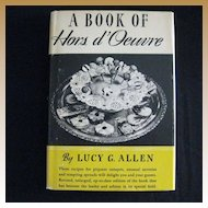 """Rare Vintage Hard Bound Cookbook - """"A Book of Hors d' Oeuvre"""""""