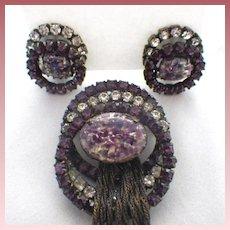 Vintage Foil Glass & Rhinestone Tassel Brooch & Earrings